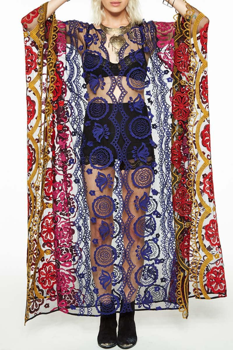 Kwieciste kimono ponczo boho