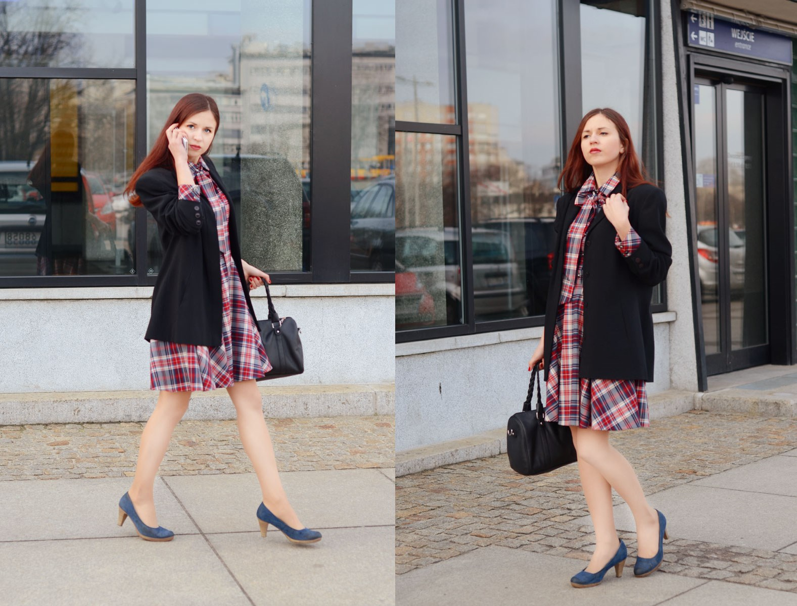 business style checked dress lattore