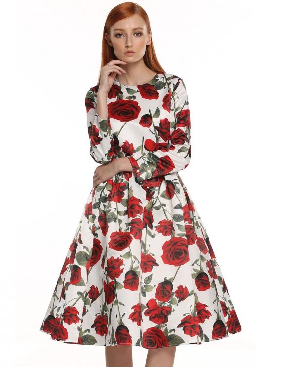 sukienka w róże kwiaty dresslink