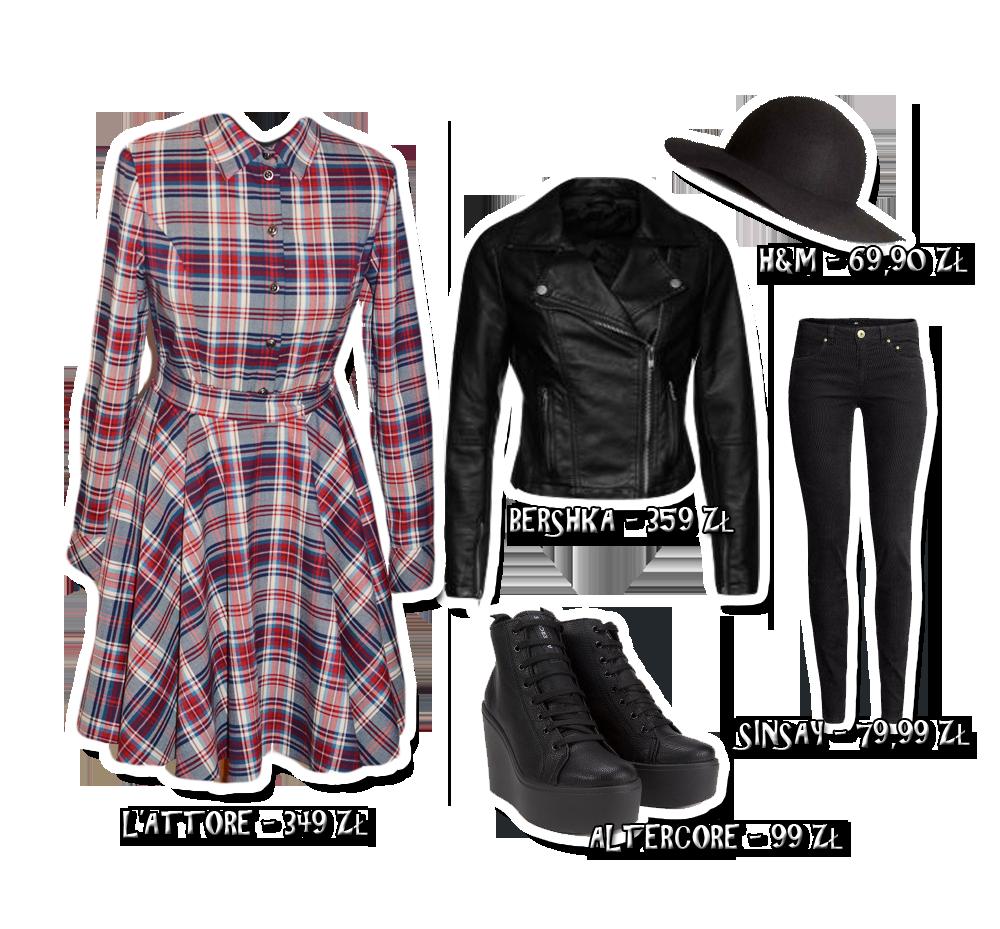 sukienka w kratę stylizacja rockowa