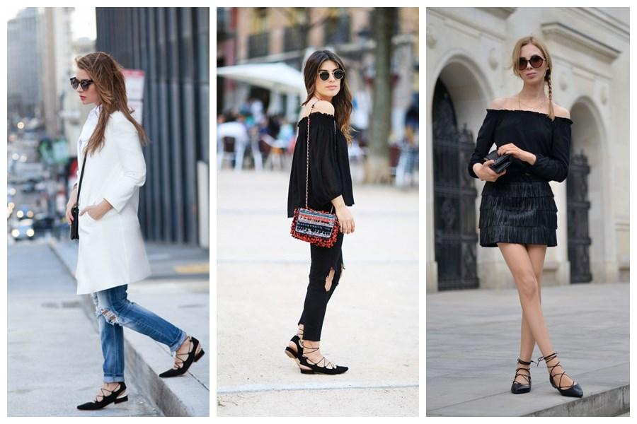 4 wiązane balerinki bloggerki